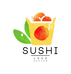 Sushi logo design japanese food emblem watercolor vector