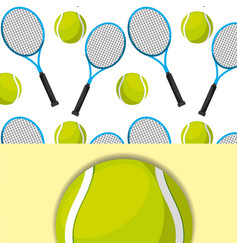 tennis racket and ball sport competition pattern vector image
