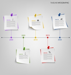 Time line info graphic with tags and colored pins vector