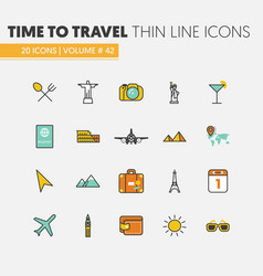 Travel vacations linear thin line icons vector