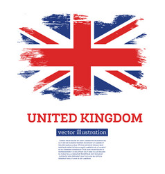 united kingdom flag with brush strokes vector image