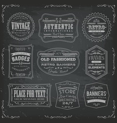 Vintage labels ans signs on blackboard vector