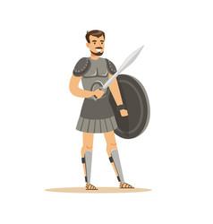 Warrior character man in historical armor vector