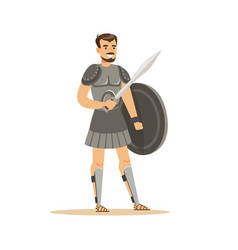 Warrior character man in historical armor with vector