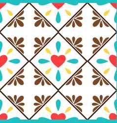 white spanish ornamental ceramic tile vector image
