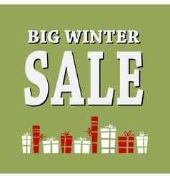Winter sale background with white letters and vector image
