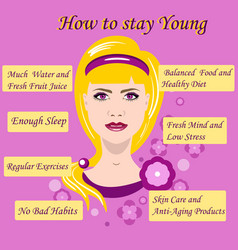 with advice how to stay young vector image