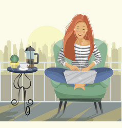 young female blogger freelancer woman using vector image