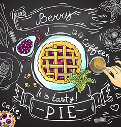 berry pie vector image