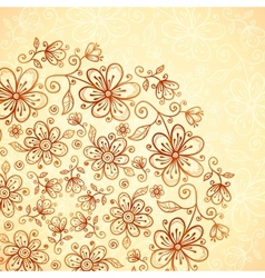 Doodle vintage flowers background vector image vector image