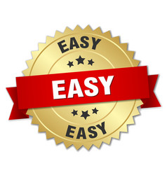 easy round isolated gold badge vector image
