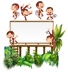 frame template with little monkeys vector image
