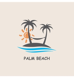 label with palm tree vector image vector image