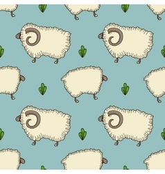 simple seamless pattern with sheep and ram vector image vector image