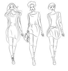 black and white beautiful fashion girls top mo vector image