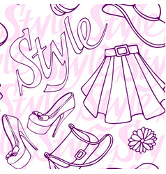 fashion vogue seamless pattern vintage doodle hand vector image