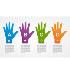 Flat infographics with colorful hands vector image