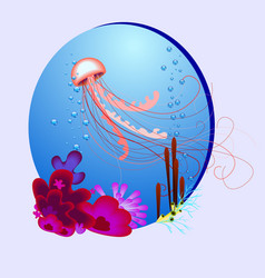 oval with a jellyfish and vector image