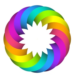rainbow circle flower logo design vector image