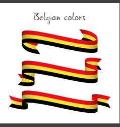 set of three ribbons with the belgian tricolor vector image vector image