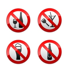set prohibited signs - dont drinks vector image vector image