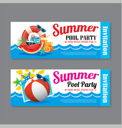 Summer pool party invitation ticket template vector