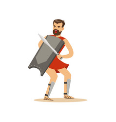 warrior character man with a sword and a shield vector image