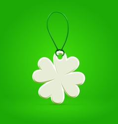 White plastic shamrock leaf tag vector image