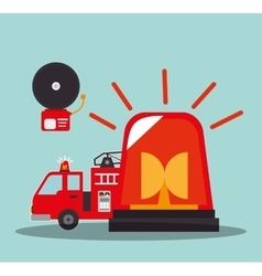 fire truck vehicle and emergency icons vector image