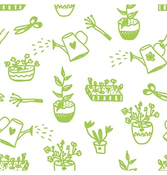 Garden flowers and tools seamless pattern vector image vector image
