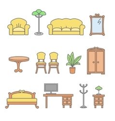Isolated flat furniture outline icons set vector image vector image