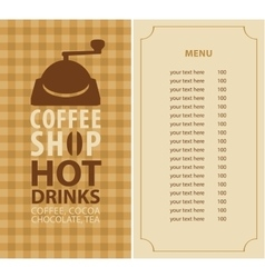 menu for a coffee shop vector image vector image