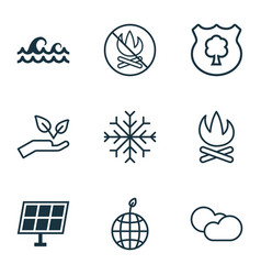 set of 9 eco icons includes snow sun power vector image vector image