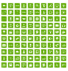 100 website icons set grunge green vector image vector image