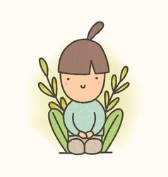 cute cartoon sitting girl vector image