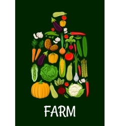 Farm vegetables emblem in shape of cutting board vector