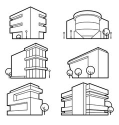 office building icons vector image