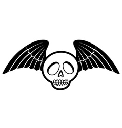 skull with wings two vector image vector image