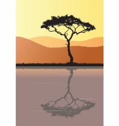 tree silhouette and water vector image