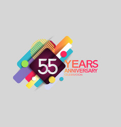 55 years anniversary colorful design with circle vector