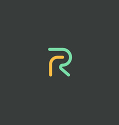 Abstract letter r logo design color linear vector