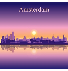 Amsterdam silhouette on sunset background vector image