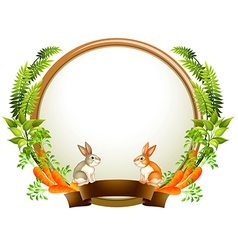 An empty round templates with plants and animals vector image