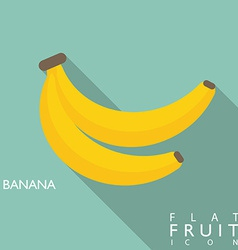 Banana flat icon with long shadow vector image