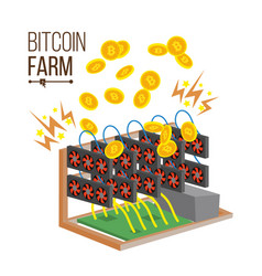 Bitcoin farm cryptocurrency mining farm vector