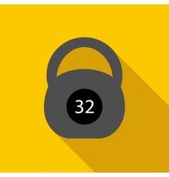 Black kettlebell icon flat style vector