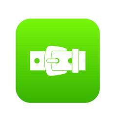 Black metal belt buckle icon digital green vector