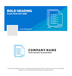 blue business logo template for check filing list vector image