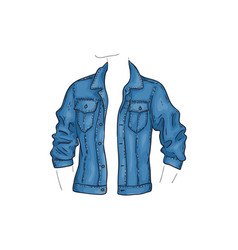 Blue denim jacket with pockets jean shirt vector