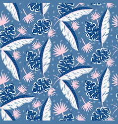 Blue jungle leaves pattern for summer seamless vector